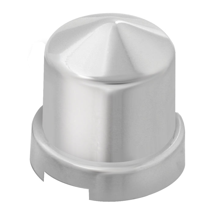 "Chrome plastic pointed round push-on frame bolt cover w/flange - 1/2"" Diameter"