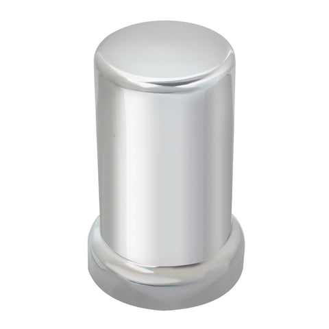 33mm chrome plastic flat cylinder threaded lugnut cover w/flange