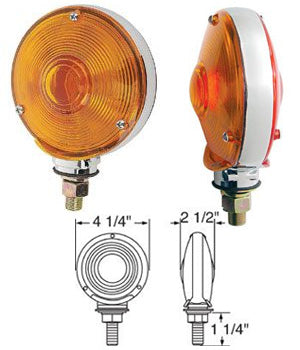 "Amber/Red 4"" round incandescent turn signal light"