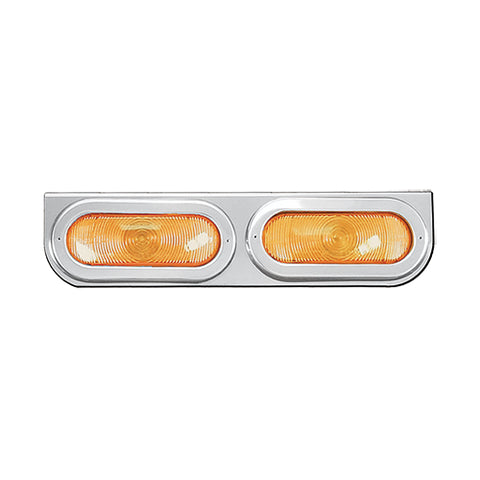 "18"" stainless steel light bar w/2 oval light holes - rounded edge"