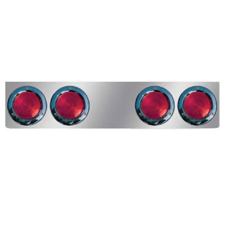 "8"" stainless steel rear center panel w/4 round 4"" light holes"