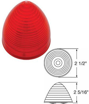 "Red 2.5"" beehive incandescent marker/clearance light"
