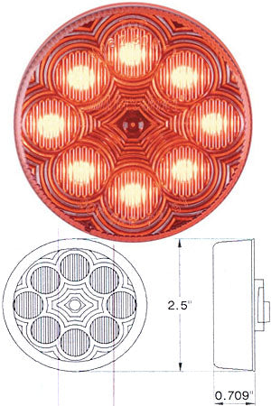 "Maxxima red 2.5"" round 8 diode LED marker light - CLEAR lens"