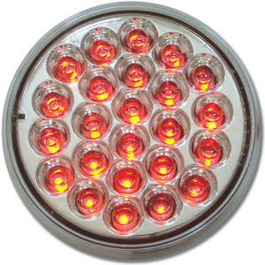 "Pearl red 4"" round 24 diode LED stop/turn/tail light - CLEAR lens"