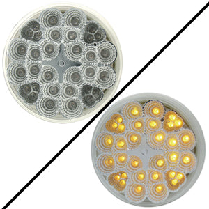 "Amber 4"" round 32 diode LED turn signal light - CLEAR lens"