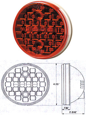 "Maxxima red 4"" round 32 diode LED stop/turn/tail light"