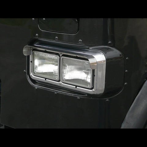 "4"" x 6"" dual rectangular headlight stainless steel visors - PAIR"