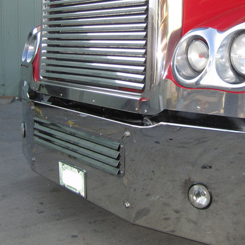 Freightliner Coronado stainless steel louvered lower bumper grill insert