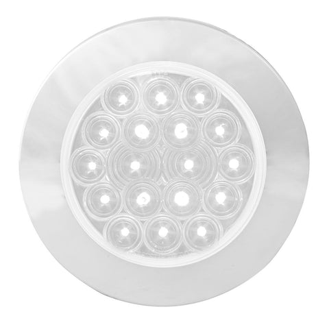 """Fleet"" White 4"" round 18 diode LED surface mount backup/reverse light w/chrome bezel, plain wires (no plug)"