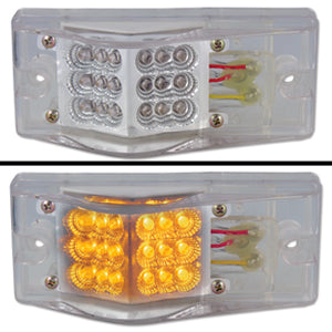 "Amber 2"" x 6"" rectangular 18 diode LED turn signal light w/hump - CLEAR lens"