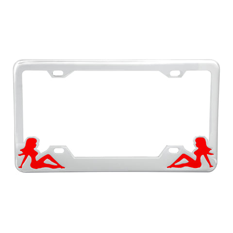 Chrome license plate frame w/red mudflap girl design
