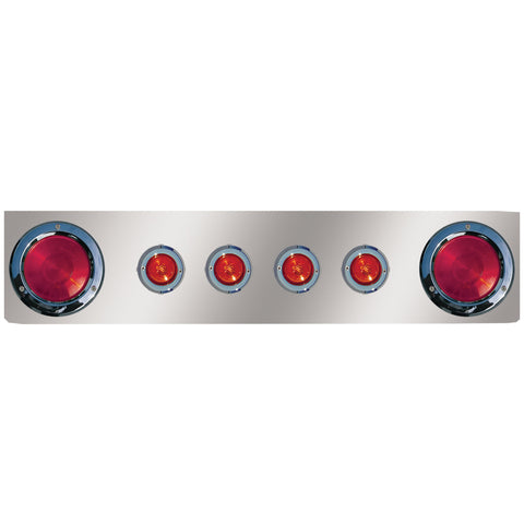 "8"" stainless steel rear center panel w/2 round 4"" light holes and 4 round 2"" light holes"