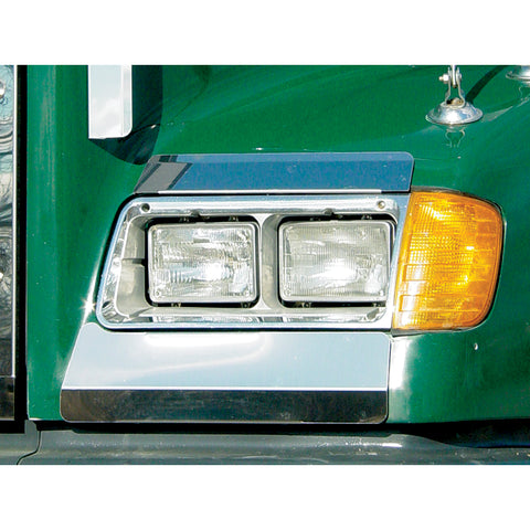 Freightliner FLD stainless steel fender guards, below headlight - PAIR