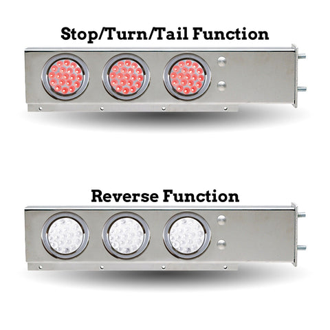 "Stainless steel mudflap hanger w/6 round Dual Revolution 4"" Red/White LED lights - 3-3/4"" Bolt hole spacing"
