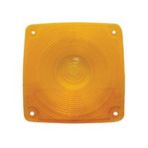 Amber plastic lens for square incandescent turn signal light