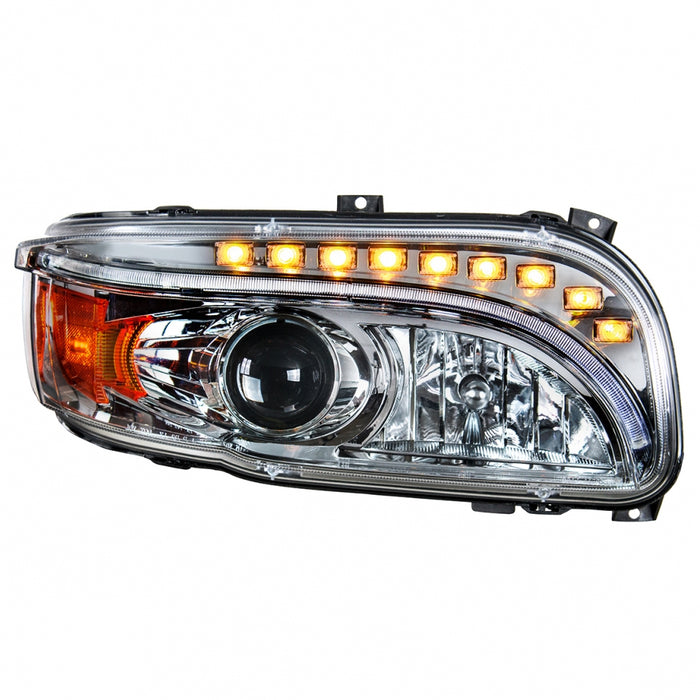 Peterbilt 388/389 projection-style headlight with LED turn signal, position bar