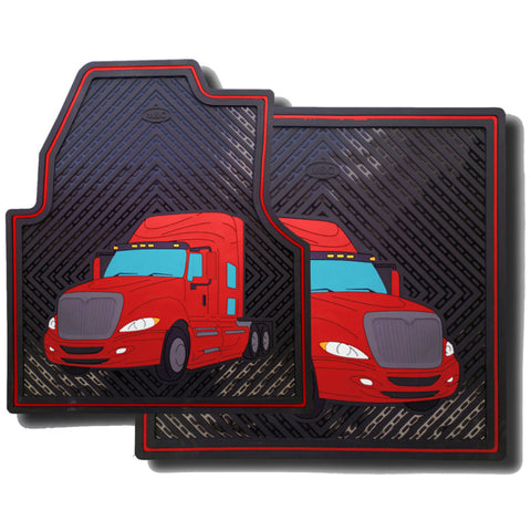 International ProStar red and black colored rubber floor mat set