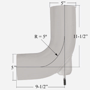 "Freightliner Century 90 degree galvaneal exhaust elbow - 5"" diameter"