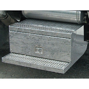 Peterbilt 379 stainless steel tool box cover w/cut out