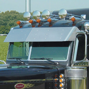"Peterbilt 2005+ Ultracab 14.5"" stainless steel drop visor"