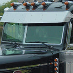 "Peterbilt 2005+ UltraCab w/cab mounted mirrors 11"" stainless steel drop visor"