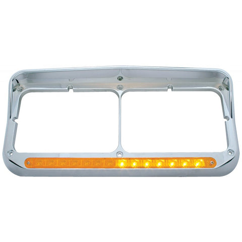Chrome dual rectangular headlight bezel w/amber LED sequential turn signal - Driver's Side