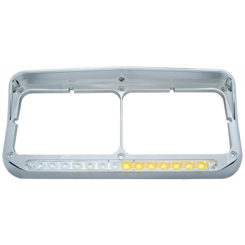 Chrome dual rectangular headlight bezel w/amber LED sequential turn signal - CLEAR lens - Driver's Side