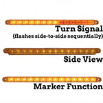 "Amber thin 12"" long LED sequential turn signal light bar"