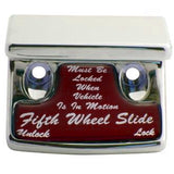 "Freightliner Classic/FLD chrome plastic switch guard w/glossy ""Fifth Wheel Slide"" sticker"