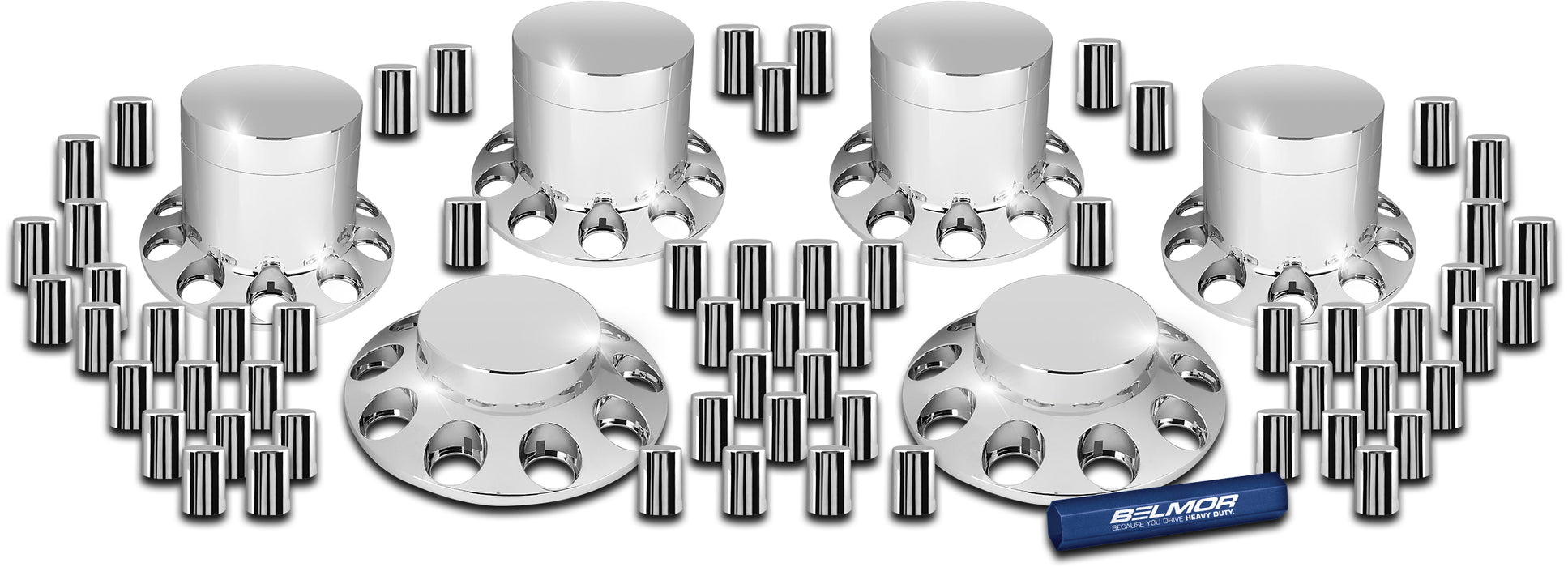 Chrome plastic axle cover kit w/33mm threaded flat top lugnut covers, flat top center caps - 2 fronts, 4 rears, installation tool