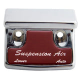 "Freightliner Classic/FLD chrome plastic switch guard w/glossy ""Suspension Air"" sticker"