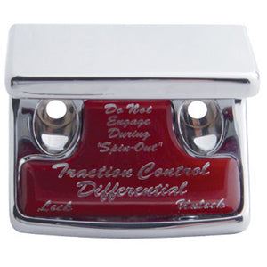 "Freightliner Classic/FLD chrome plastic switch guard w/glossy ""Traction Differential"" sticker"