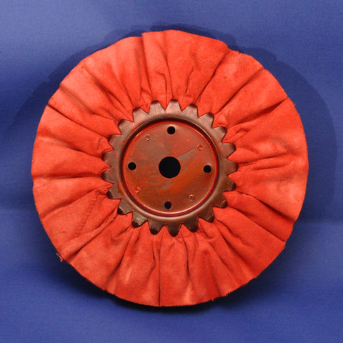 "Red resin treated polishing wheel - 8"" diameter"