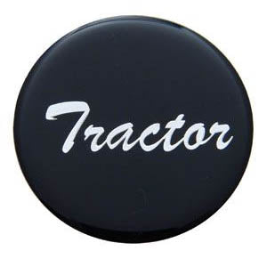 """Tractor"" or ""Trailer"" glossy sticker for large universal chrome knobs"