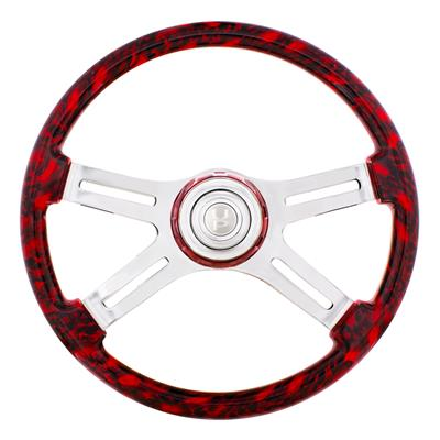 """Red Skulls"" painted wood 18"" steering wheel w/chrome spokes - 3 hole style"