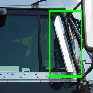 Freightliner Classic/FLD stainless steel door window air deflectors - PAIR