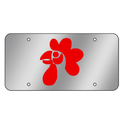 Chicken stainless steel license plate w/red background