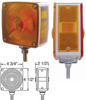 Amber/red incandescent square double face turn signal light