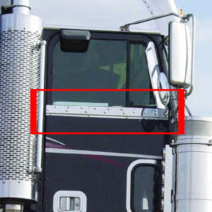 Freightliner Classic/FLD stainless steel under window trims - PAIR