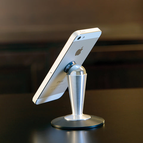 """Steelie"" tabletop stand component for phones and tablets"