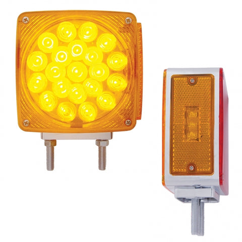 Amber/Red square 21 diode 2-stud LED turn signal light - Driver's Side