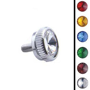 "6mm x 1/2"" chrome CB radio mounting thumb bolt w/jewel - PAIR"