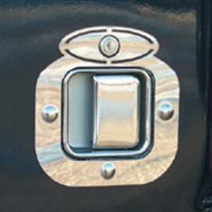 "Peterbilt -2005 ""Double Halo"" stainless steel door latch/key hole trim"