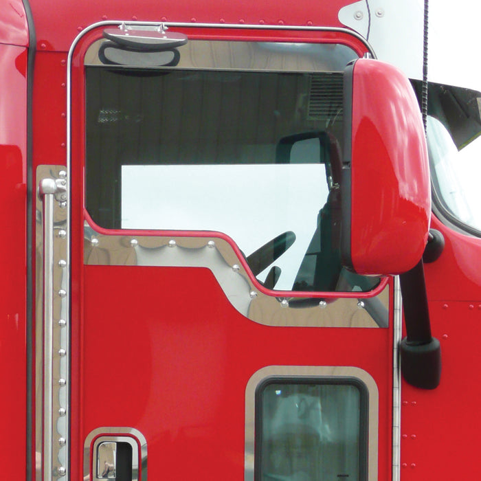 Kenworth w/Daylite Door stainless steel contoured under window trim - PAIR