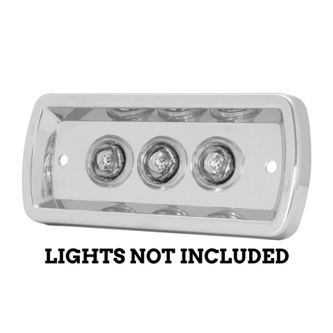 Kenworth -2005 interior door light - chrome housing only, holes for 3 button lights