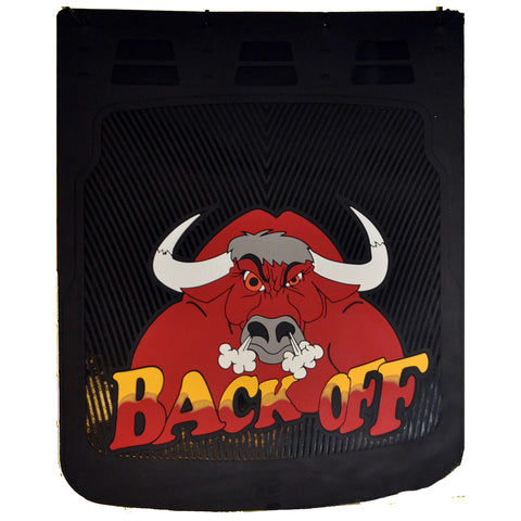 """Back Off"" w/Bull 24"" x 30"" colored rubber mudflap - PAIR"