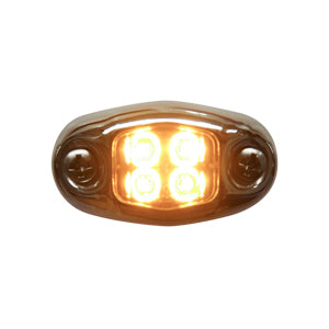 """Dragon"" 4 diode LED oval auxiliary light w/chrome cover - Amber"
