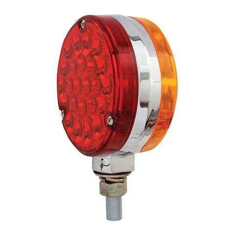 "Pearl Amber/Red 4"" round 24 diode LED turn signal light"