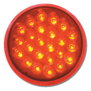 "Pearl red 4"" round 24 diode LED stop/turn/tail light"