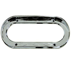 Oval chrome plastic light bezel with visor - diamond accents